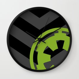 Imperial Cog on Black and Gray Chevrons Wall Clock