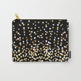Floating Dots - White and Gold on Black Carry-All Pouch