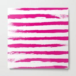 Pretty Pink STRIPES Handpainted Brushstrokes Metal Print