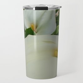 Overhead View Of Two Calla Lilies In A Garden Travel Mug