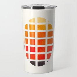 Watercolor Colorful Orange Minimalist Mid Century Modern Square Matrix Geometric Pattern Round Circl Travel Mug