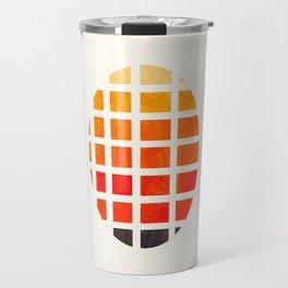 Watercolor Colorful Orange Minimalist Mid Century Modern Square Matrix Geometric Pattern Round Circl Travel Mug