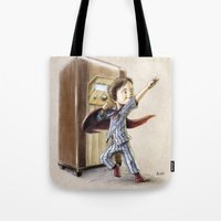 superhero Tote Bags featuring Serial Superhero by Allan McInnes