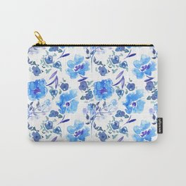 Watercolour Blue Floral Pattern Carry-All Pouch