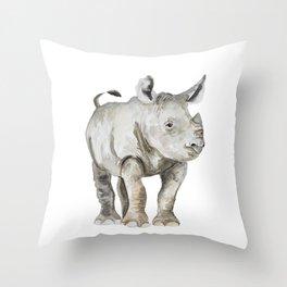 Watercolor Baby Rhino Throw Pillow