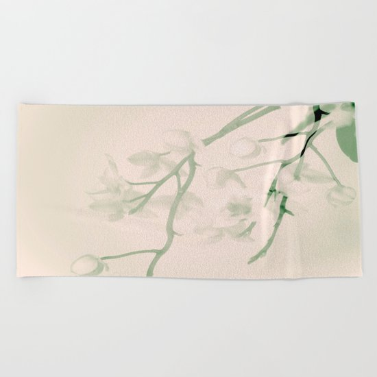 Flower branches on a pastel pink and green background - spring mood Beach Towel
