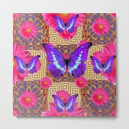 Purple Butterflies Pattern Purple-Pink Flowers Gold Art Metal Print