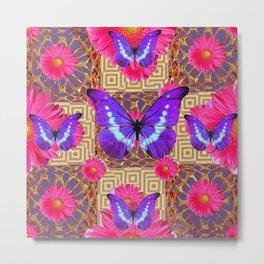 Purple Butterflies Pattern Purple-Pink Flowers Gold Art Metal Print