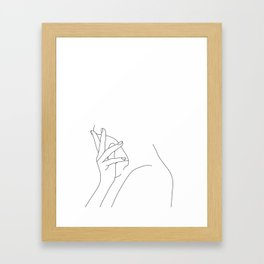 Figure line drawing illustration - Josie Framed Art Print