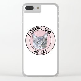 I Hecking Love My Cat Clear iPhone Case