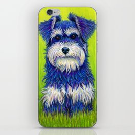 Colorful Miniature Schnauzer Dog Pet Portrait iPhone Skin
