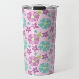 Spring teal and purple flowers with green leaves on a pink background Travel Mug