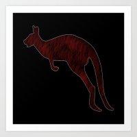 kangaroo Art Prints featuring Kangaroo by Crayle Vanest