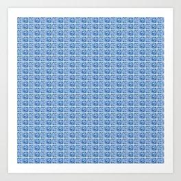 Blue Fish Block Print Art Print