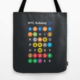 New York City subway alphabet map, NYC, lettering illustration, dark version, usa typography Tote Bag