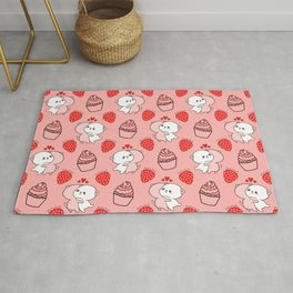 Cute happy cuddling funny Kawaii baby kittens, sweet red summer strawberries and yummy cupcakes bright pastel peach color design. Nursery decor. Rug