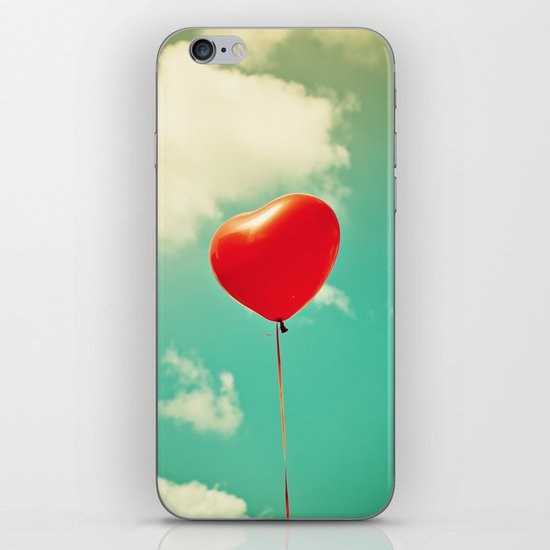 Red Heart Balloon in a Vintage Turquoise Sky  iPhone & iPod Skin