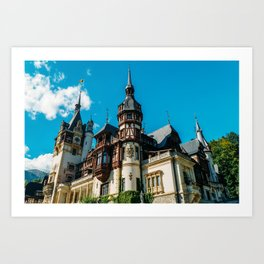 Peles Palace In Transylvania, Architecture Photography, Medieval Castle, Mountain Landscape, Romania Art Print