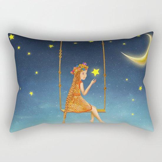The lovely girl shakes on a swing , illustration art Rectangular Pillow