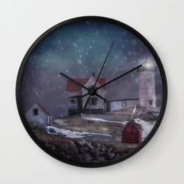 Winter Nights at Nubble Light - Maine Lighthouse Series Wall Clock