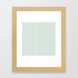 Moss Green Green Pin Stripe on White Framed Art Print