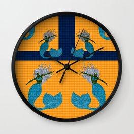 Retro Mermaid Tile Print Wall Clock