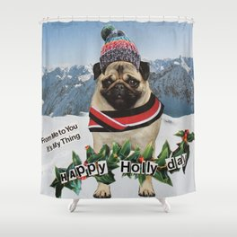 Happy Holly Day Shower Curtain