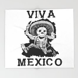 Viva Mexico Mad Dead Mariachi Throw Blanket