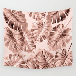 Rose Gold Monstera Wall Tapestry