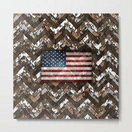Brown Digital Camo Patriotic Chevrons American Flag Metal Print