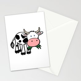 Black and White Steer Munching Grass Stationery Cards