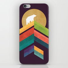 Lingering mountain with golden moon iPhone Skin
