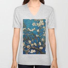 Almond Tree in Blossom - Blue Motif by Vincent van Gogh Unisex V-Neck