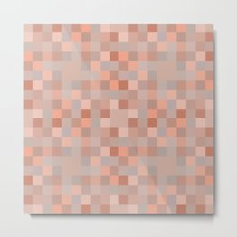 Brown & coral pixel play surface background Metal Print
