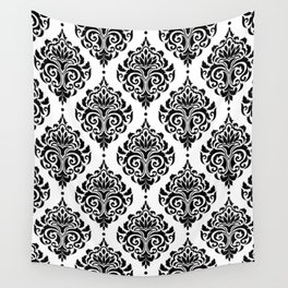 Black and White Damask Wall Tapestry