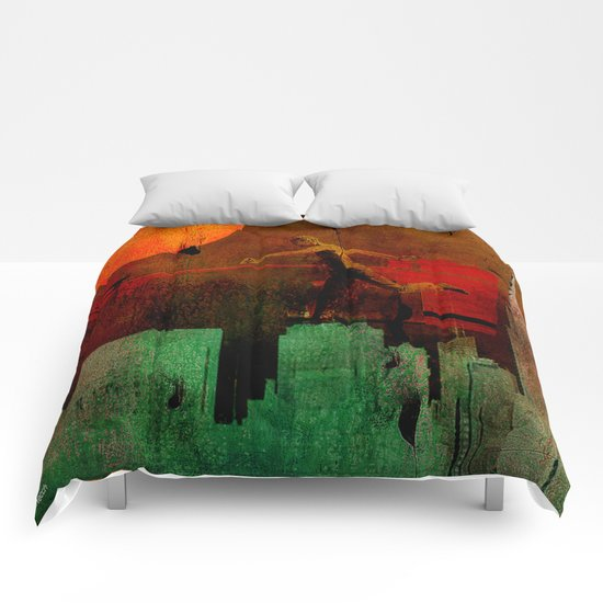Jump on the green city Comforters