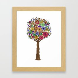Multi-colored Tree Hand-Drawn/Colored Illustration Framed Art Print