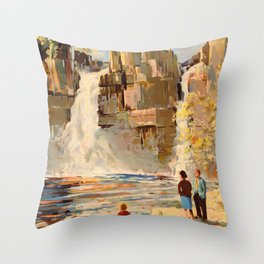 Mid Century Modern Vintage Travel Poster England Landscape Rocky Waterfall Throw Pillow