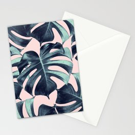 Tropical Monstera Leaves Dream #3 #tropical #decor #art #society6 Stationery Cards