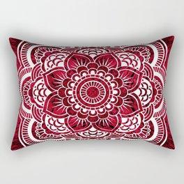 Mandala Red Colorburst Rectangular Pillow