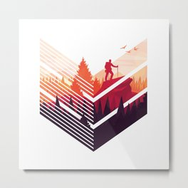Hiking Gift for Mountain Lover and Hiker Metal Print