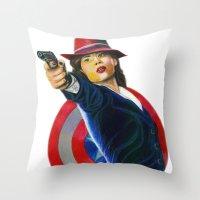 peggy carter Throw Pillows featuring Peggy Carter by Farah Jayden