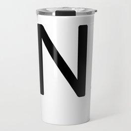 Letter N - Custom Scrabble Letter Tile Art - Scrabble N Initial Travel Mug