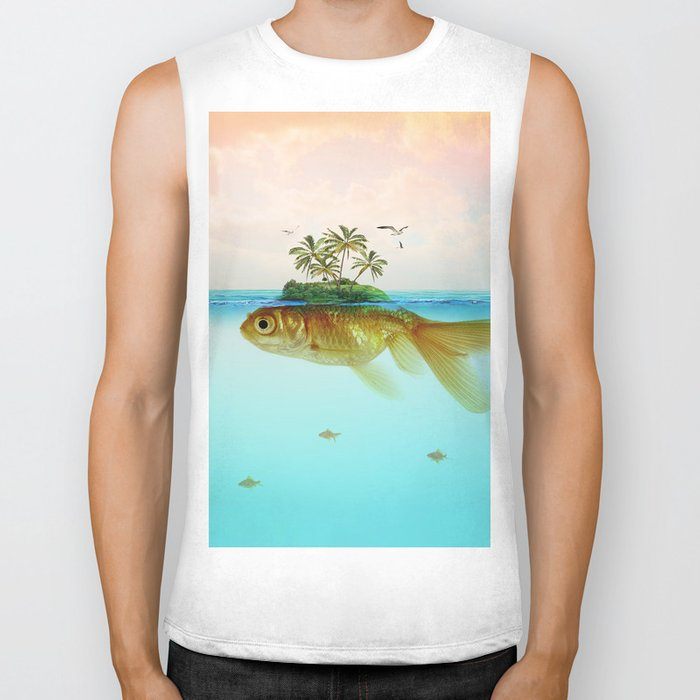 Goldfish Island II Biker Tank by vincepezzaniti