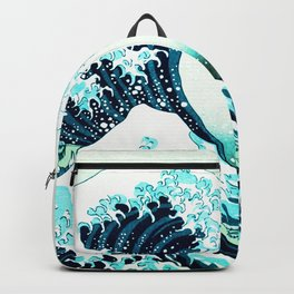 the great wave : aqua teal Backpack