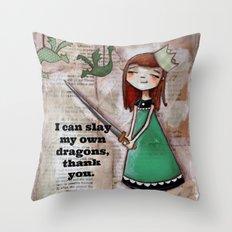 Dragonslayer - by Diane Duda Throw Pillow
