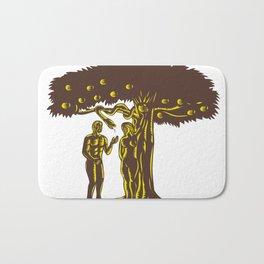 Adam and Eve Apple Serpent Woodcut Bath Mat
