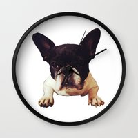 frenchie Wall Clocks featuring Frenchie by lori
