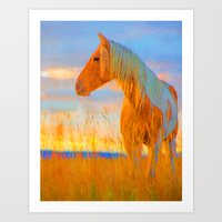 mustang Art Prints featuring Mustang by DigitalAndPhoto