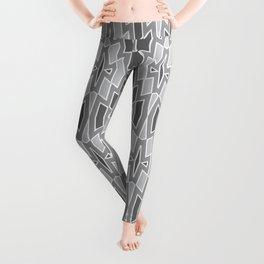 Tribal Diamond Pattern in Grays and White Leggings